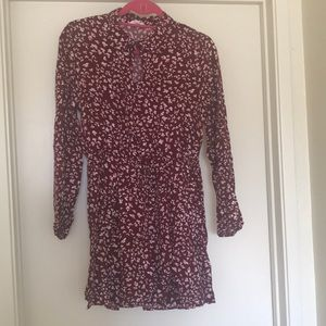 Red floral long sleeved dress